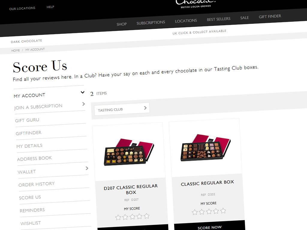Scoring boxes on the Hotel Chocolat website